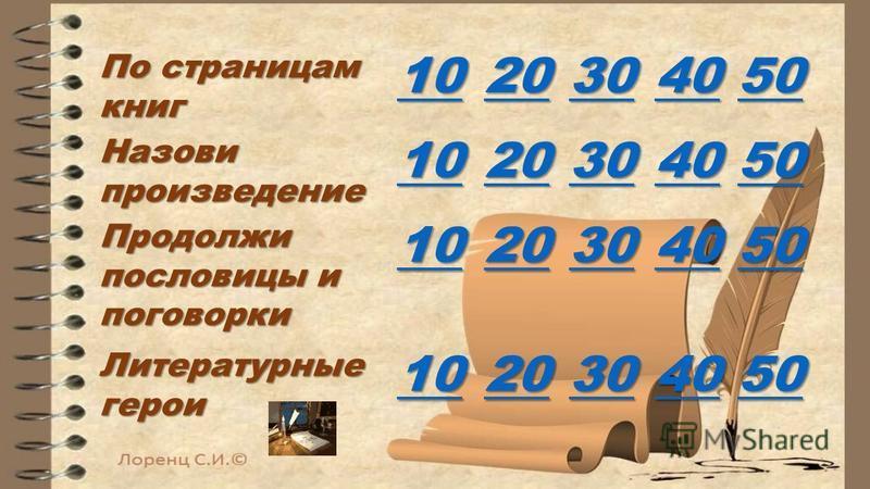 По страницам книг 10 20 30 40 50 Назови произведение 10 20 30 40 50 Продолжи пословицы и поговорки 10 20 30 40 50 Литературные герои 10 20 30 40 50