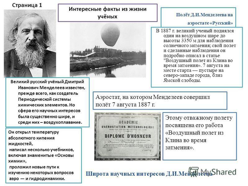 Полёт Д.И.Менделеева на аэростате «Русский» В 1887 г. великий ученый поднялся один на воздушном шаре до высоты 3350 м для наблюдения солнечного затмения; свой полет и сделанные наблюдения он подробно описал в статье