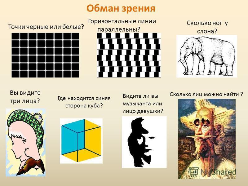 Обман зрения Точки черные или белые? Горизонтальные линии параллельны? Сколько ног у слона? Вы видите три лица? Где находится синяя сторона куба? Видите ли вы музыканта или лицо девушки? Сколько лиц можно найти ?