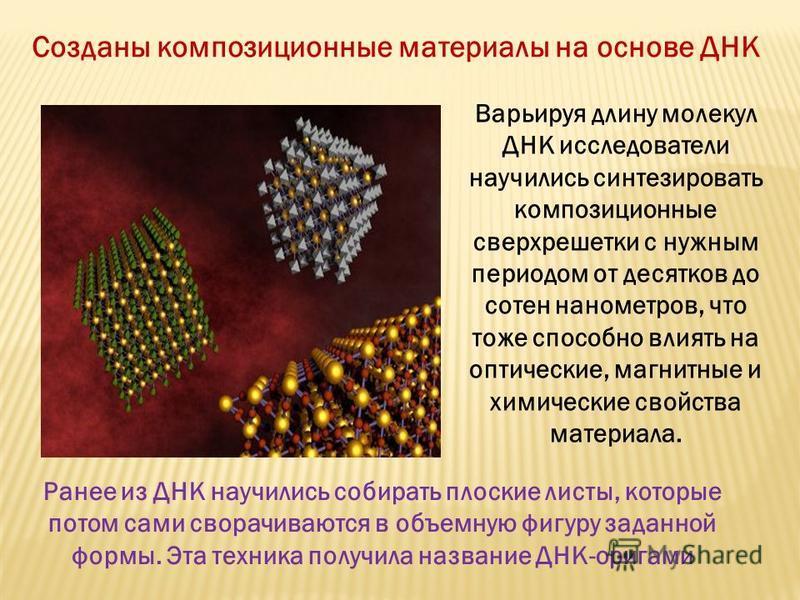 Созданы композиционные материалы на основе ДНК Варьируя длину молекул ДНК исследователи научились синтезировать композиционные сверхрешетки с нужным периодом от десятков до сотен нанометров, что тоже способно влиять на оптические, магнитные и химичес
