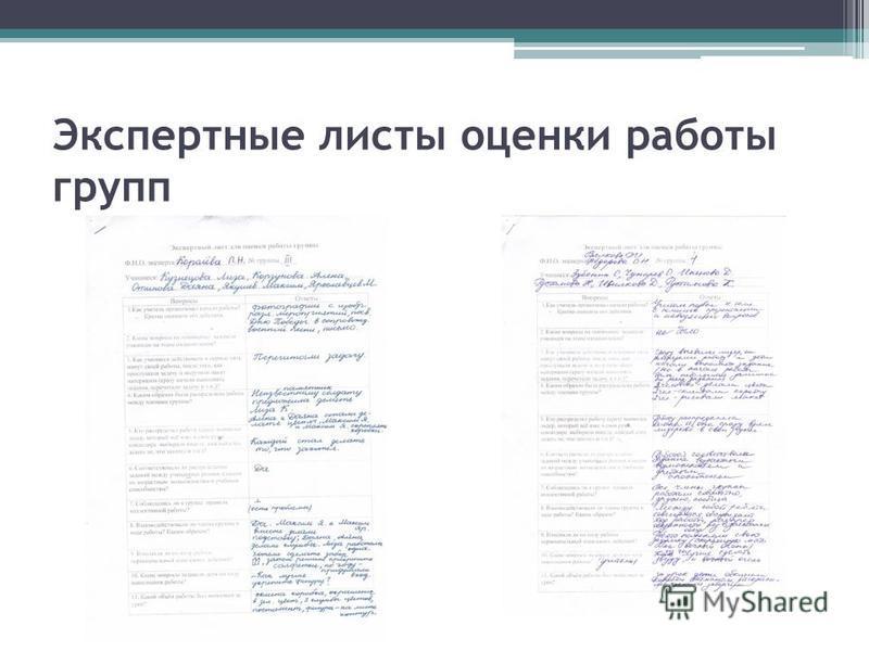 Экспертные листы оценки работы групп