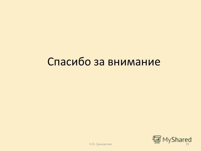 Спасибо за внимание Н.В. Грановская 19
