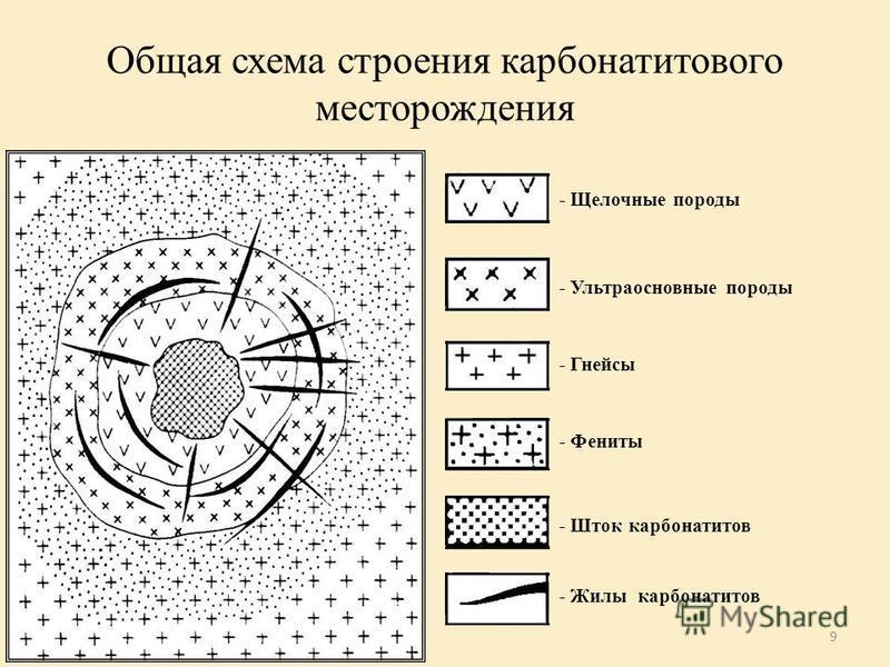 9 Общая схема строения карбонатитового месторождения - Щелочные породы - Ультраосновные породы - Гнейсы - Фениты - Шток карбонатитов - Жилы карбонатитов