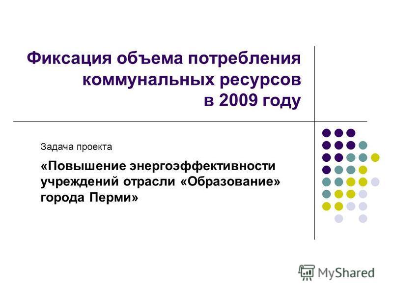 Фиксация объема потребления коммунальных ресурсов в 2009 году Задача проекта «Повышение энергоэффективности учреждений отрасли «Образование» города Перми»