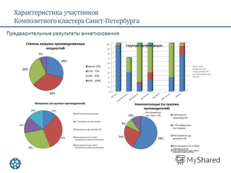 Характеристика участников Композитного кластера Санкт-Петербурга Структура портфеля продаж Предварительные результаты анкетирования