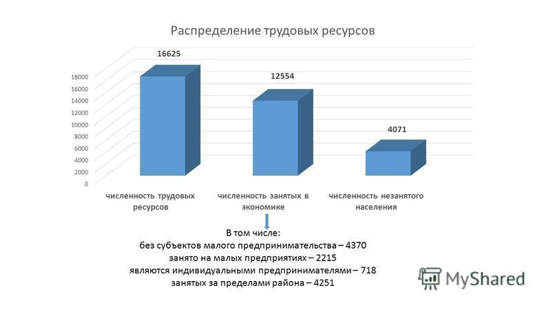 В том числе: без субъектов малого предпринимательства – 4370 занято на малых предприятиях – 2215 являются индивидуальными предпринимателями – 718 занятых за пределами района – 4251
