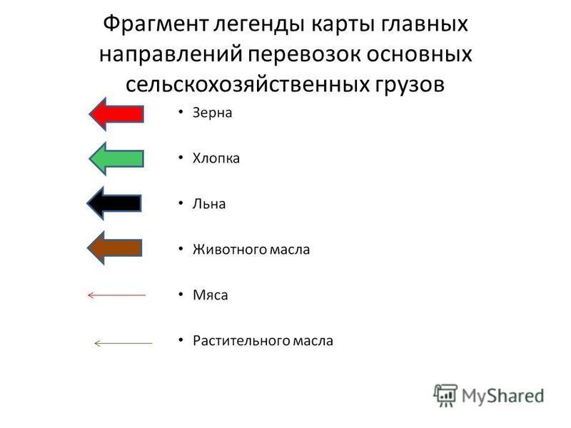 Фрагмент легенды карты главных направлений перевозок основных сельскохозяйственных грузов