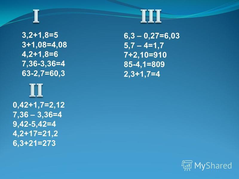 3,2+1,8=5 3+1,08=4,08 4,2+1,8=6 7,36-3,36=4 63-2,7=60,3 6,3 – 0,27=6,03 5,7 – 4=1,7 7+2,10=910 85-4,1=809 2,3+1,7=4 0,42+1,7=2,12 7,36 – 3,36=4 9,42-5,42=4 4,2+17=21,2 6,3+21=273