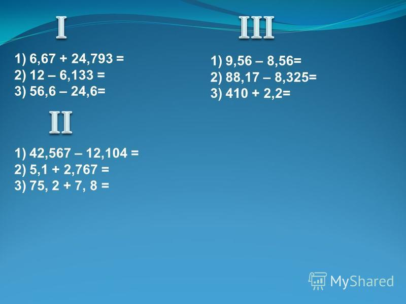 1)6,67 + 24,793 = 2)12 – 6,133 = 3)56,6 – 24,6= 1)42,567 – 12,104 = 2)5,1 + 2,767 = 3)75, 2 + 7, 8 = 1)9,56 – 8,56= 2)88,17 – 8,325= 3)410 + 2,2=