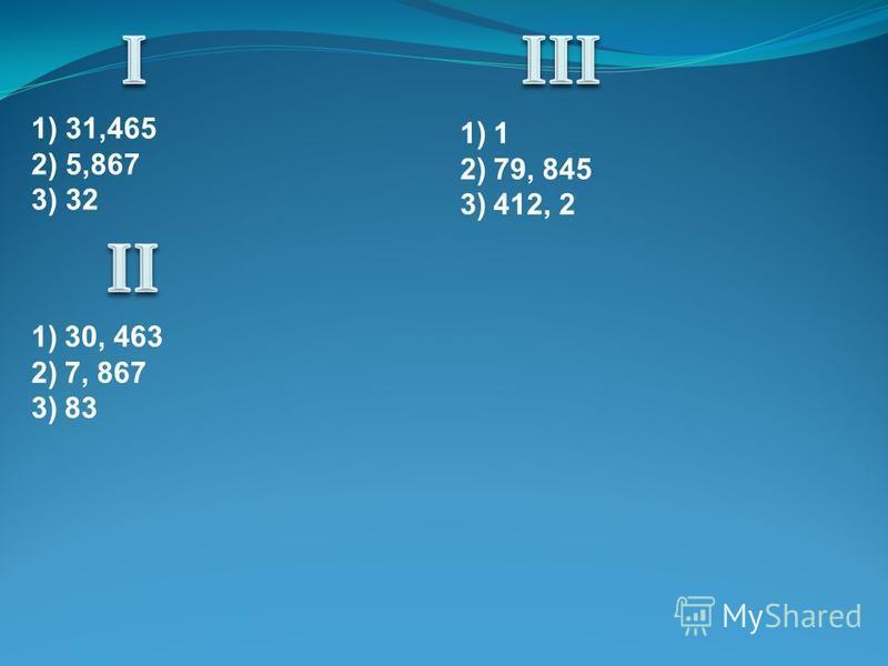 1) 31,465 2) 5,867 3) 32 1)1 2)79, 845 3)412, 2 1)30, 463 2)7, 867 3)83
