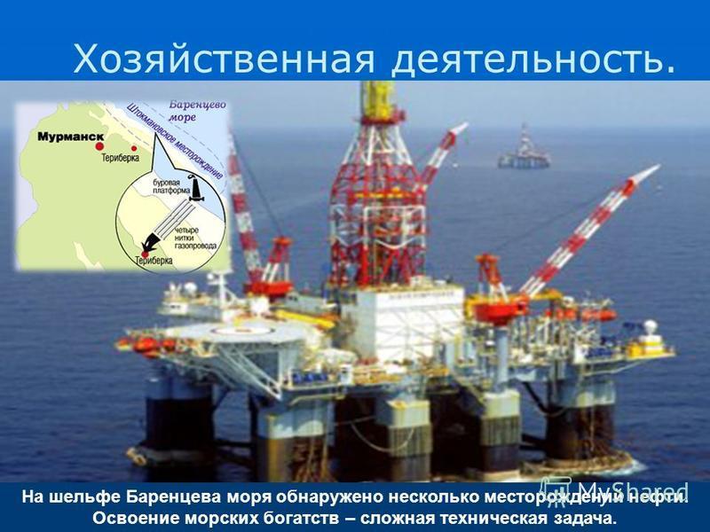 На шельфе Баренцева моря обнаружено несколько месторождений нефти. Освоение морских богатств – сложная техническая задача. Хозяйственная деятельность.
