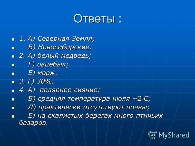 Ответы : 1. А) Северная Земля; 1. А) Северная Земля; В) Новосибирские. В) Новосибирские. 2. А) белый медведь; 2. А) белый медведь; Г) овцебык; Г) овцебык; Е) морж. Е) морж. 3. Г) 30%. 3. Г) 30%. 4. А) полярное сияние; 4. А) полярное сияние; Б) средня