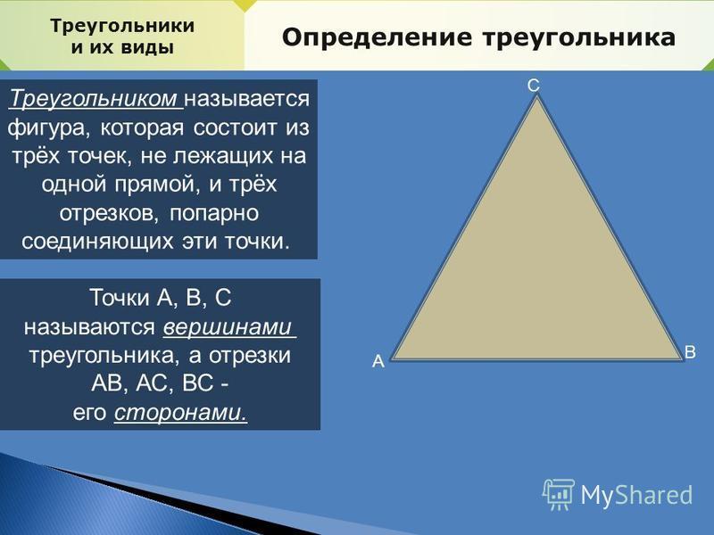 Треугольники и их виды Определение треугольника Треугольником называется фигура, которая состоит из трёх точек, не лежащих на одной прямой, и трёх отрезков, попарно соединяющих эти точки. Точки А, В, С называются вершинами треугольника, а отрезки АВ,