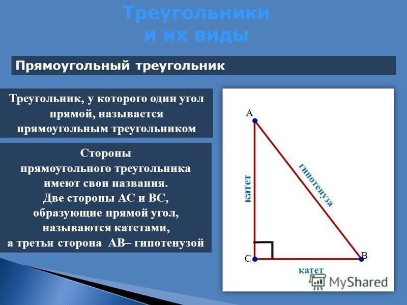 Треугольники и их виды Прямоугольный треугольник катет гипотенуза Треугольник, у которого один угол прямой, называется прямоугольным треугольником Стороны прямоугольного треугольника имеют свои названия. Две стороны АС и ВС, образующие прямой угол, н