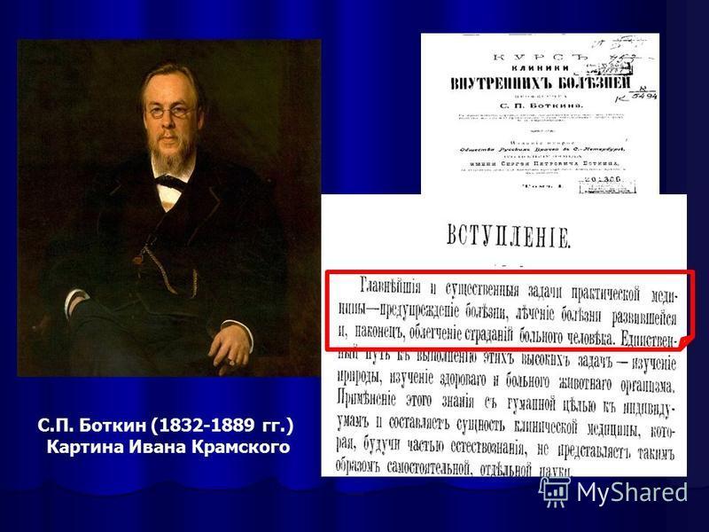 С.П. Боткин (1832-1889 гг.) Картина Ивана Крамского