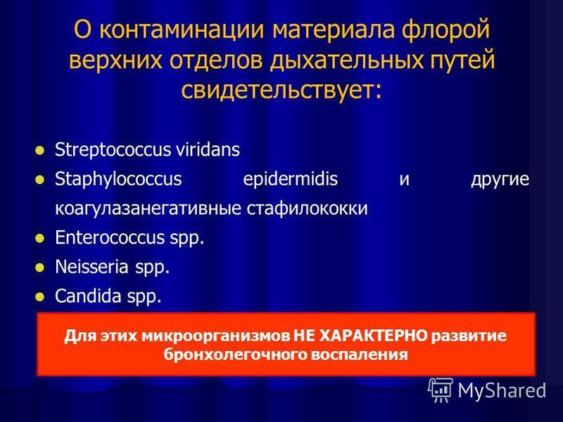 О контаминации материала флорой верхних отделов дыхательных путей свидетельствует: Streptococcus viridans Staphylococcus epidermidis и другие коагулаза негативные стафилококки Enterococcus spp. Neisseria spp. Candida spp. Для этих микроорганизмов НЕ
