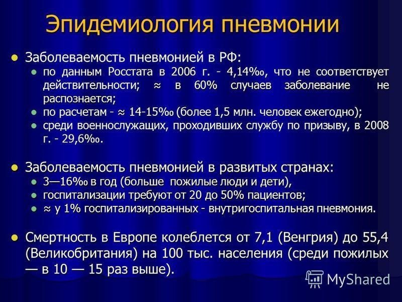 Эпидемиология пневмонии Заболеваемость пневмонией в РФ: в 60% случаев заболевание не распознается; по данным Росстата в 2006 г. - 4,14, что не соответствует действительности; в 60% случаев заболевание не распознается; по расчетам - 14-15 (более 1,5 м