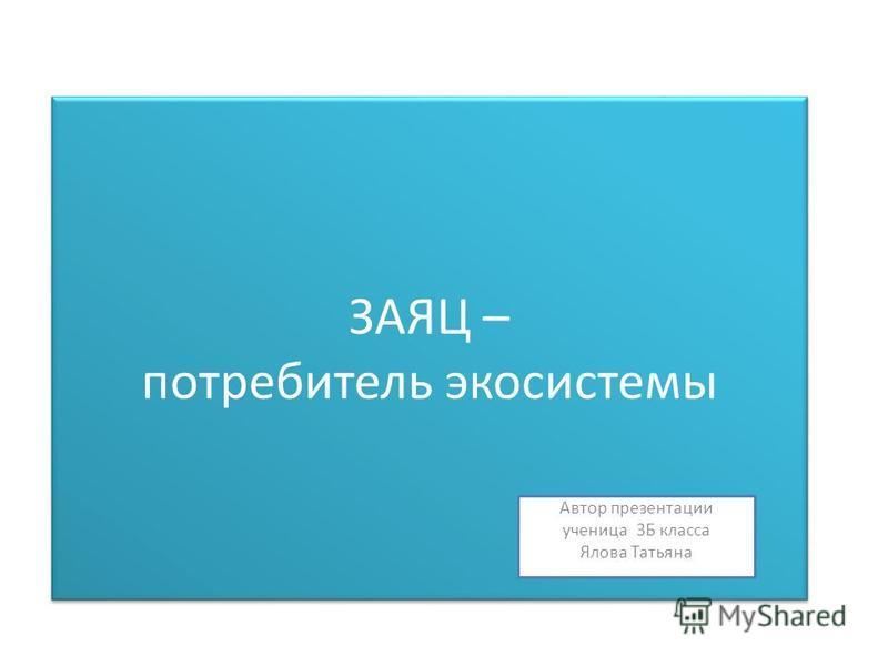 ЗАЯЦ – потребитель экосистемы Автор презентации ученица 3Б класса Ялова Татьяна