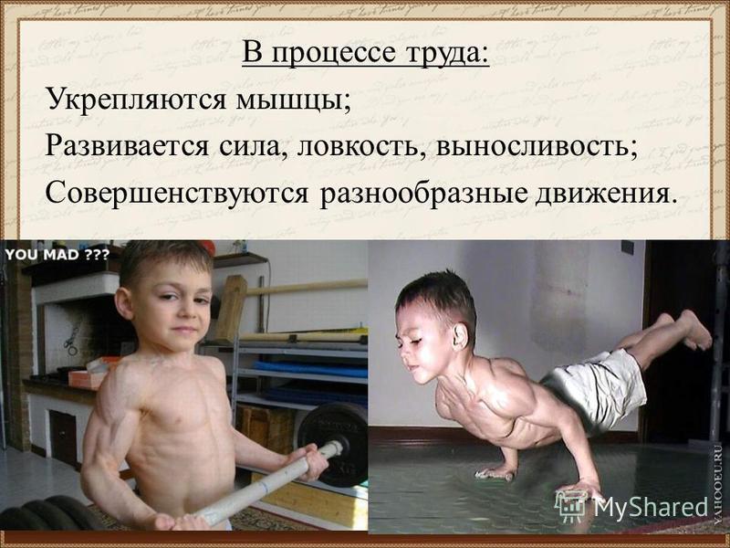 В процессе труда: Укрепляются мышцы; Развивается сила, ловкость, выносливость; Совершенствуются разнообразные движения.