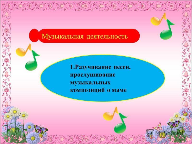 Музыкальная деятельность 1. Разучивание песен, прослушивание музыкальных композиций о маме