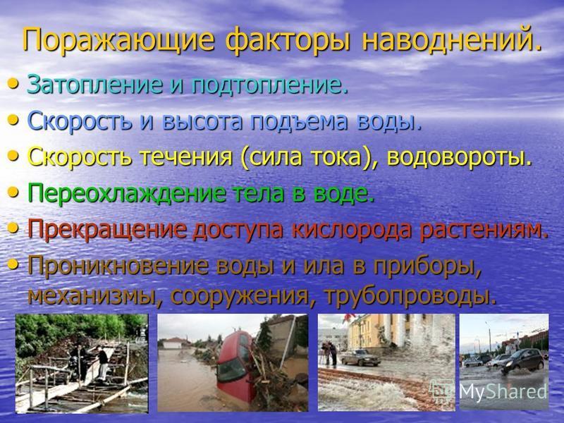 Поражающие факторы наводнений. Затопление и подтопление. Затопление и подтопление. Скорость и высота подъема воды. Скорость и высота подъема воды. Скорость течения (сила тока), водовороты. Скорость течения (сила тока), водовороты. Переохлаждение тела