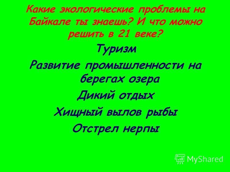 Какие экологические проблемы на Байкале ты знаешь? И что можно решить в 21 веке? Туризм Развитие промышленности на берегах озера Дикий отдых Хищный вылов рыбы Отстрел нерпы