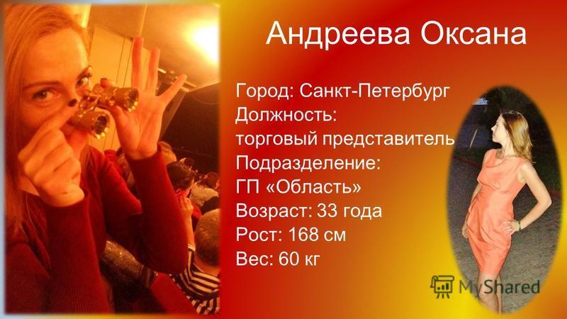 Андреева Оксана Город: Санкт-Петербург Должность: торговый представитель Подразделение: ГП «Область» Возраст: 33 года Рост: 168 см Вес: 60 кг