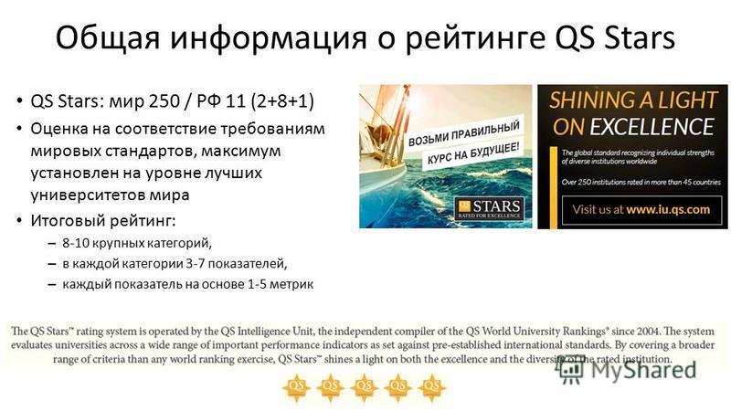 Общая информация о рейтинге QS Stars QS Stars: мир 250 / РФ 11 (2+8+1) Оценка на соответствие требованиям мировых стандартов, максимум установлен на уровне лучших университетов мира Итоговый рейтинг: – 8-10 крупных категорий, – в каждой категории 3-7