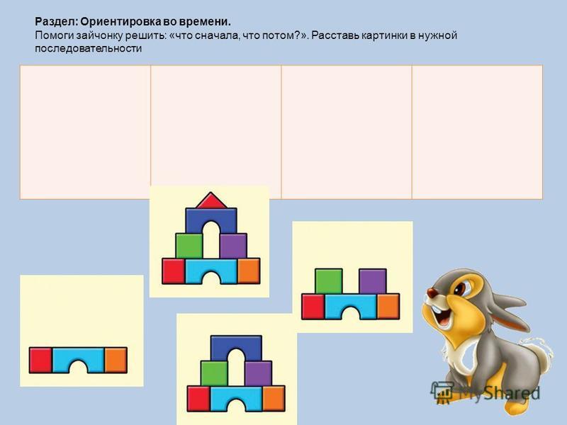 Раздел: Ориентировка во времени. Помоги зайчонку решить: «что сначала, что потом?». Расставь картинки в нужной последовательности