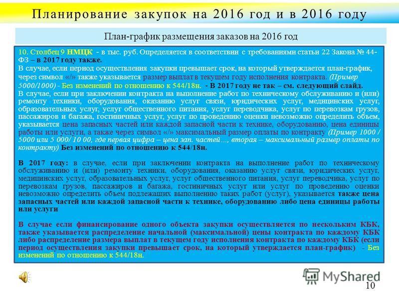 Планирование закупок на 2016 год и в 2016 году 10. Столбец 9 НМЦК - в тыс. руб. Определяется в соответствии с требованиями статьи 22 Закона 44- ФЗ – в 2017 году также. В случае, если период осуществления закупки превышает срок, на который утверждаетс