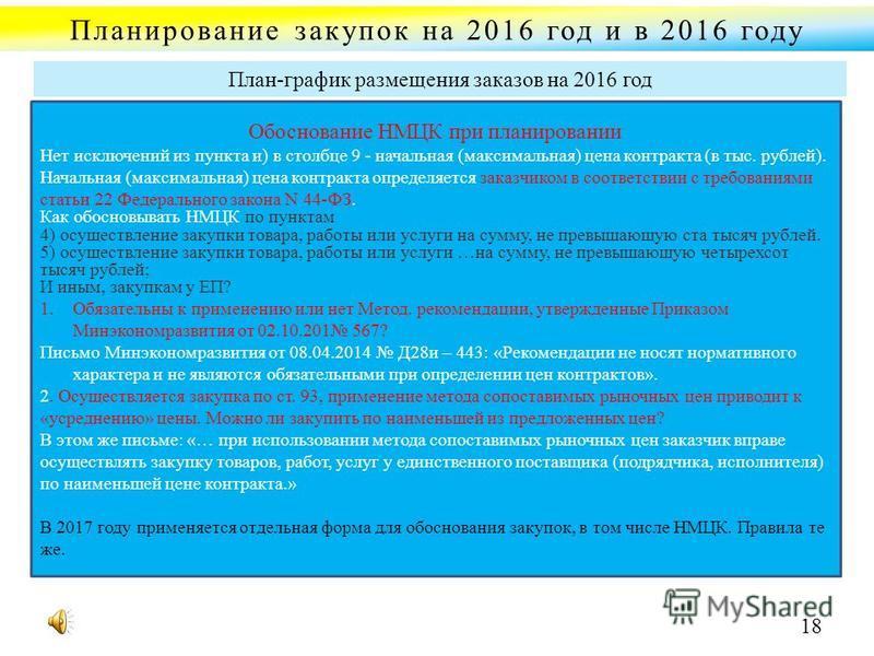 Планирование закупок на 2016 год и в 2016 году Обоснование НМЦК при планировании Нет исключений из пункта и) в столбце 9 - начальная (максимальная) цена контракта (в тыс. рублей). Начальная (максимальная) цена контракта определяется заказчиком в соот