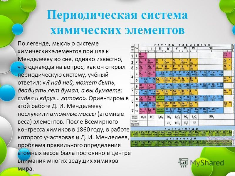 Периодическая система химических элементов По легенде, мысль о системе химических элементов пришла к Менделееву во сне, однако известно, что однажды на вопрос, как он открыл периодическую систему, учёный ответил: «Я над ней, может быть, двадцать лет