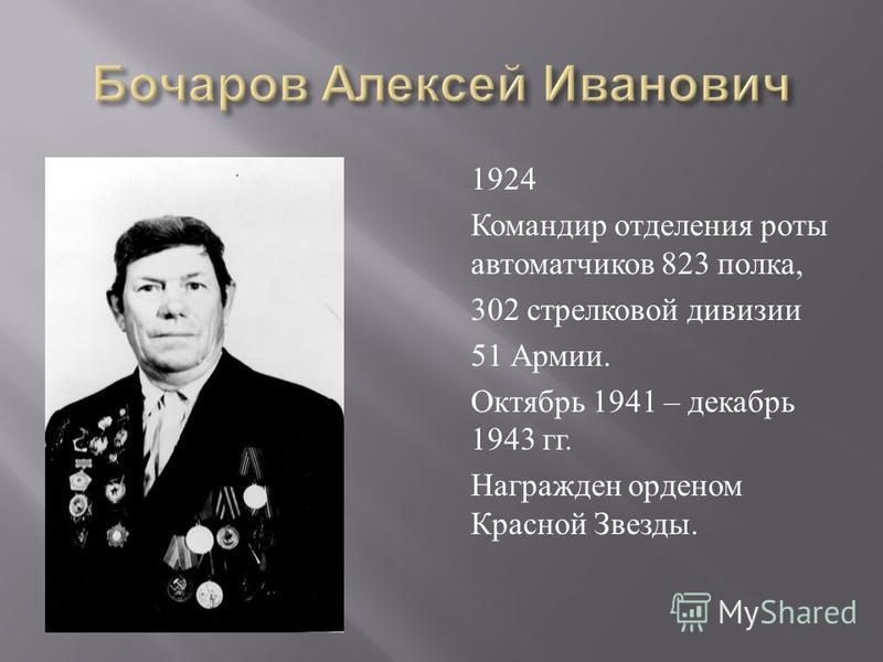 1924 Командир отделения роты автоматчиков 823 полка, 302 стрелковой дивизии 51 Армии. Октябрь 1941 – декабрь 1943 гг. Награжден орденом Красной Звезды.