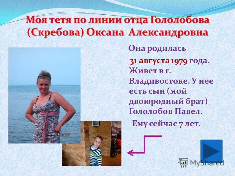 Моя тетя по линии отца Гололобова (Скребова) Оксана Александровна Она родилась 31 августа 1979 года. Живет в г. Владивостоке. У нее есть сын (мой двоюродный брат) Гололобов Павел. Ему сейчас 7 лет.