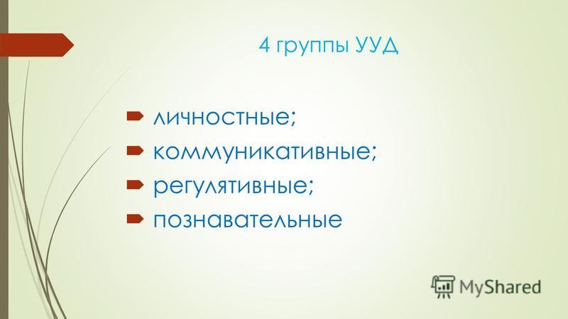 4 группы УУД личностные; коммуникативные; регулятивные; познавательные