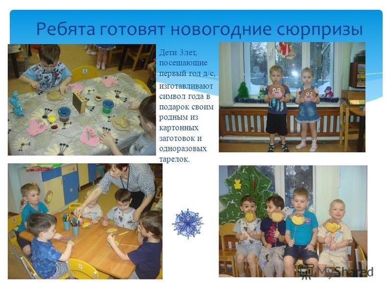 Ребята готовят новогодние сюрпризы Дети 3 лет, посещающие первый год д/с, изготавливают символ года в подарок своим родным из картонных заготовок и одноразовых тарелок.