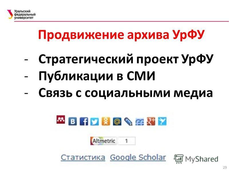 29 Продвижение архива УрФУ -Стратегический проект УрФУ -Публикации в СМИ -Связь с социальными медиа