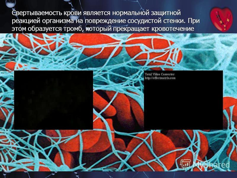 Свертываемость крови является нормальной защитной реакцией организма на повреждение сосудистой стенки. При этом образуется тромб, который прекращает кровотечение