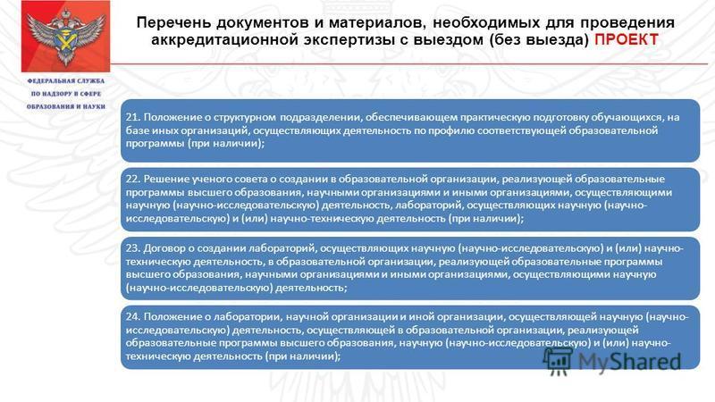 Перечень документов и материалов, необходимых для проведения аккредитационной экспертизы с выездом (без выезда) ПРОЕКТ 21. Положение о структурном подразделении, обеспечивающем практическую подготовку обучающихся, на базе иных организаций, осуществля