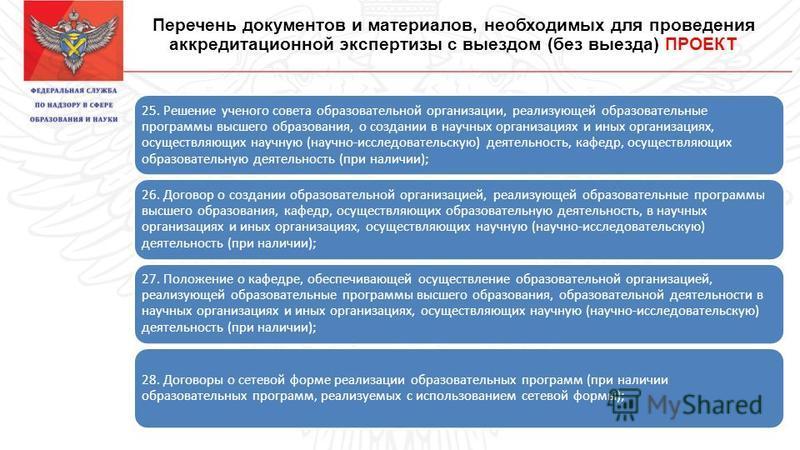 Перечень документов и материалов, необходимых для проведения аккредитационной экспертизы с выездом (без выезда) ПРОЕКТ 25. Решение ученого совета образовательной организации, реализующей образовательные программы высшего образования, о создании в нау