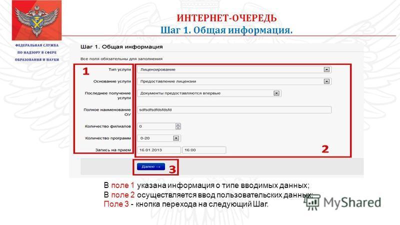 ИНТЕРНЕТ-ОЧЕРЕДЬ Шаг 1. Общая информация. В поле 1 указана информация о типе вводимых данных; В поле 2 осуществляется ввод пользовательских данных; Поле 3 - кнопка перехода на следующий Шаг.