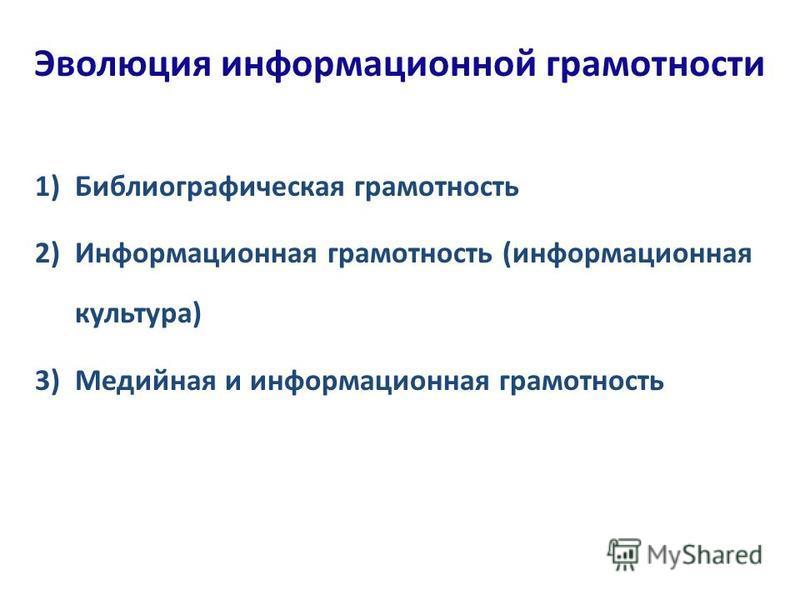 Эволюция информационной грамотности 1)Библиографическая грамотность 2)Информационная грамотность (информационная культура) 3)Медийная и информационная грамотность