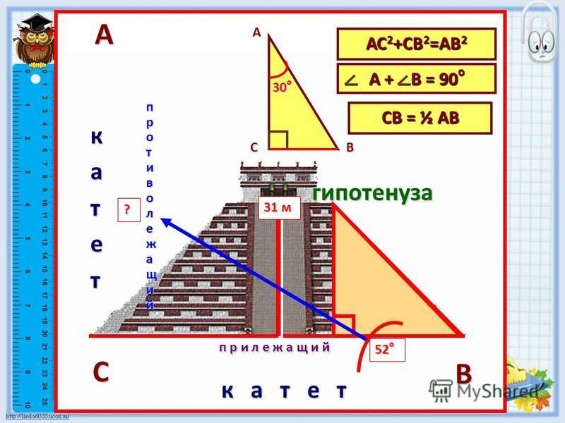 к а т е т катет гипотенуза СВ = ½ АВ АВ С прилежащий противолежащий АС 2 +СВ 2 =АВ 2 А + В = 90 о АВ С 30 о 31 м 52 о ?