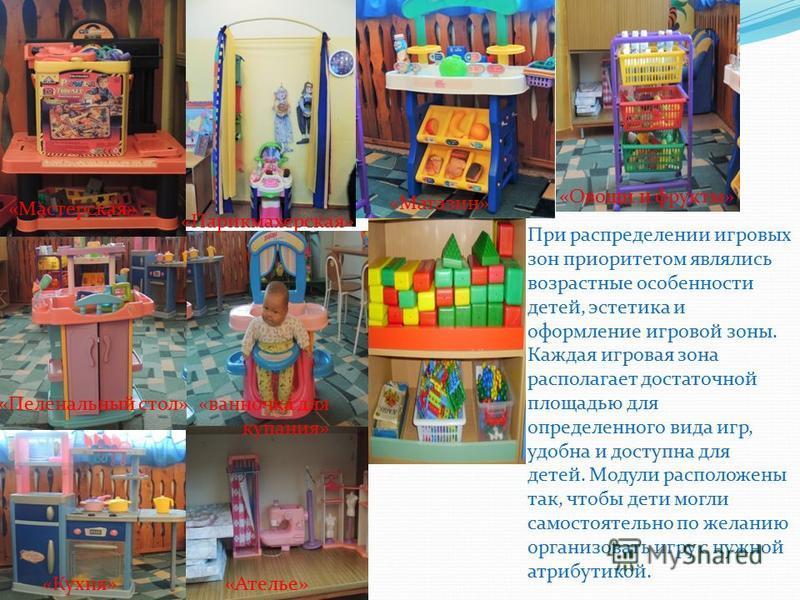 При распределении игровых зон приоритетом являлись возрастные особенности детей, эстетика и оформление игровой зоны. Каждая игровая зона располагает достаточной площадью для определенного вида игр, удобна и доступна для детей. Модули расположены так,