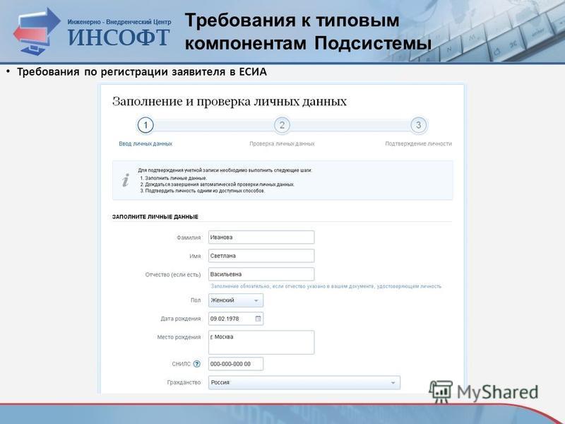 Требования к типовым компонентам Подсистемы Требования по регистрации заявителя в ЕСИА