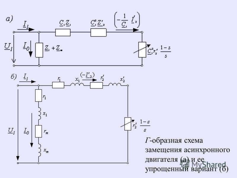 Г-образная схема замещения асинхронного двигателя (а) и ее упрощенный вариант (б)