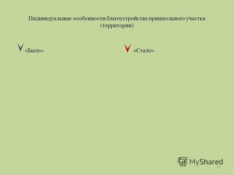 Индивидуальные особенности благоустройства пришкольного участка (территории) «Было» «Стало» 13