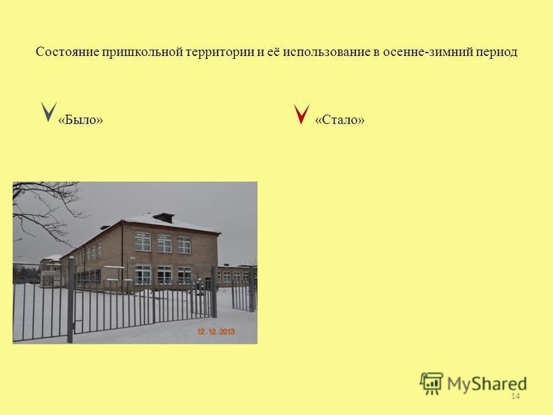 Состояние пришкольной территории и её использование в осенне-зимний период «Было» «Стало» 14