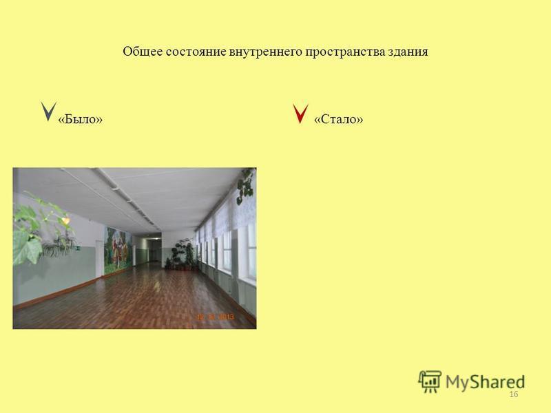 Общее состояние внутреннего пространства здания «Было» «Стало» 16