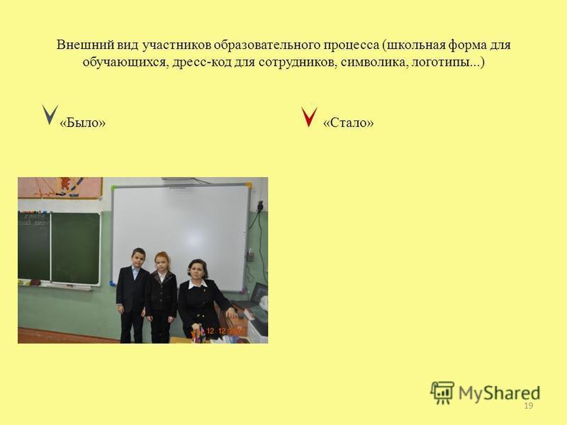 Внешний вид участников образовательного процесса (школьная форма для обучающихся, дресс-код для сотрудников, символика, логотипы...) «Было» «Стало» 19